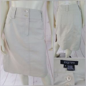 Etcetera Skirt 6 Beige 95%Cotton Spandex Unlined